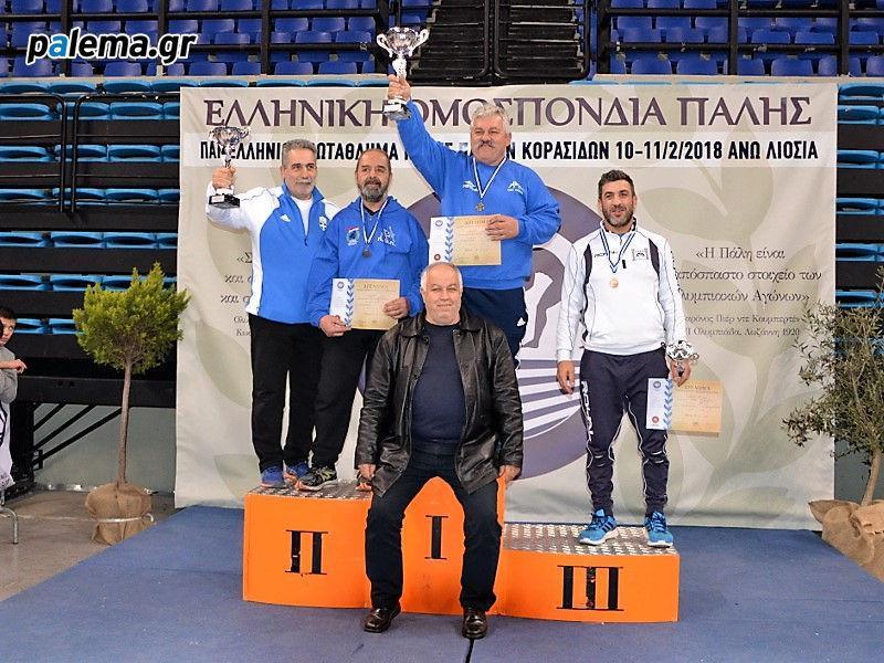Οι νικήτριες ομάδες του Πανελληνίου πρωταθλήματος ελευθέρας πάλης κορασίδων 2018 σε αναμνηστική φωογραφία στο βάθρο.
